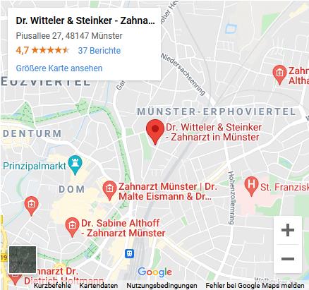 Google Maps Ansicht - Zahnarzt in Münster